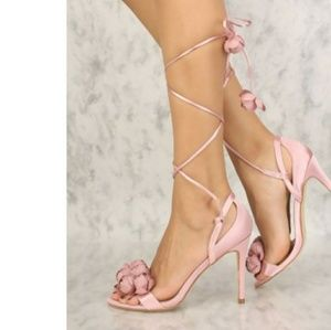 Shoes - Floral lace up heel strappy ballerina pink satin